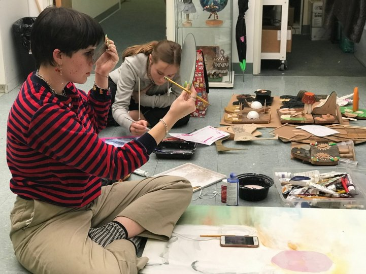 HS Art room students working