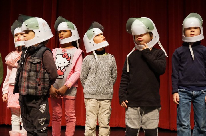 ES kids on stage in helmets