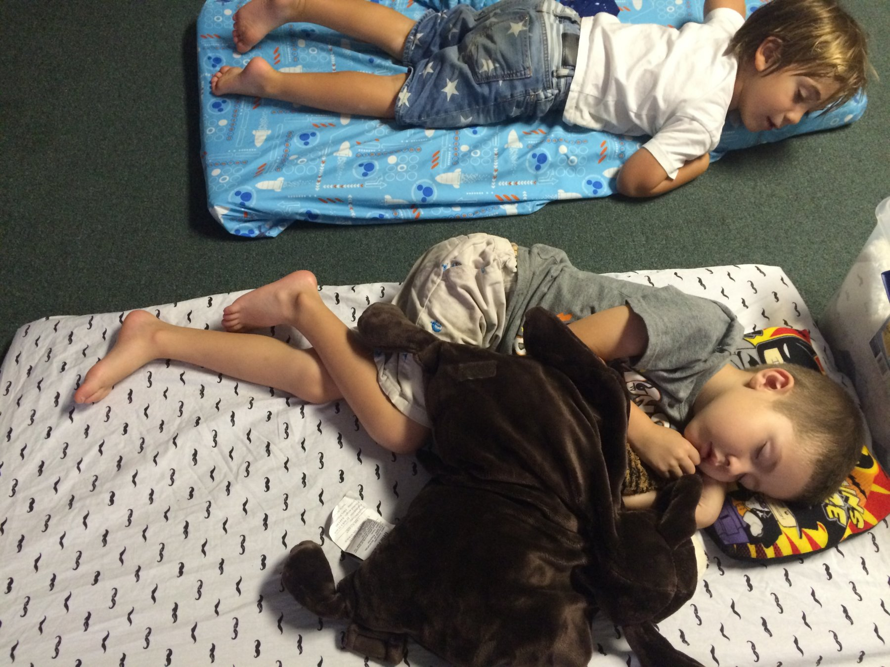 Preschool boys napping
