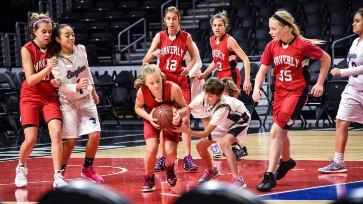 Sports Girls MS basketball on court
