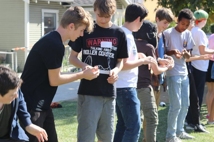 HS Students in line relay