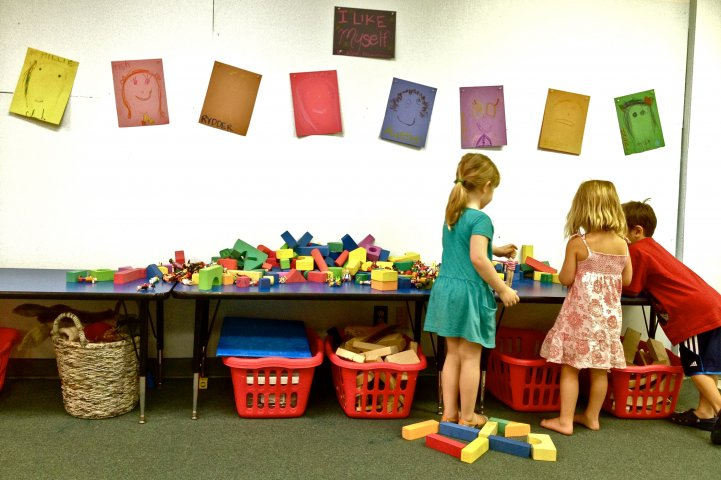 Preschool Kids at tables with blocks