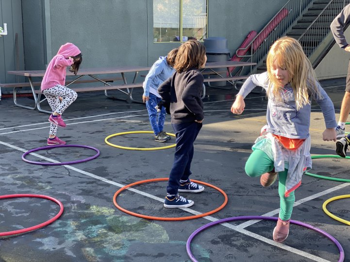 ES PE jump in hoops