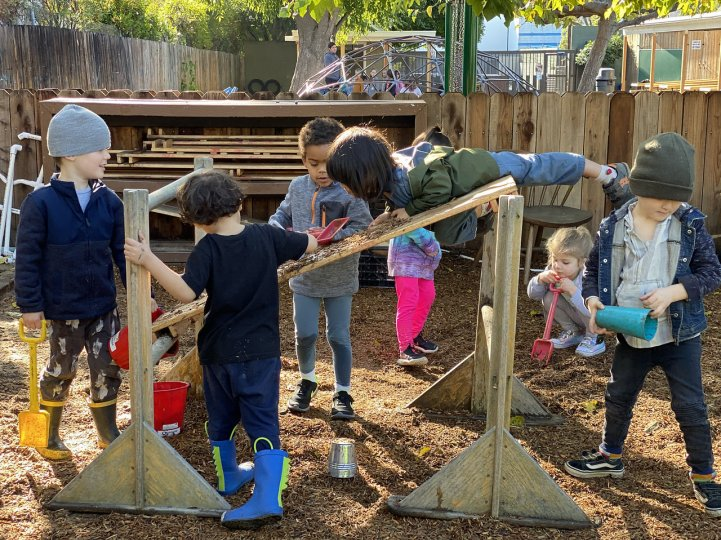 Preschool yard students play structure