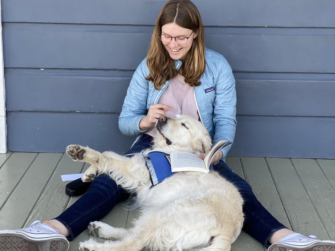 Cora with dog blog post