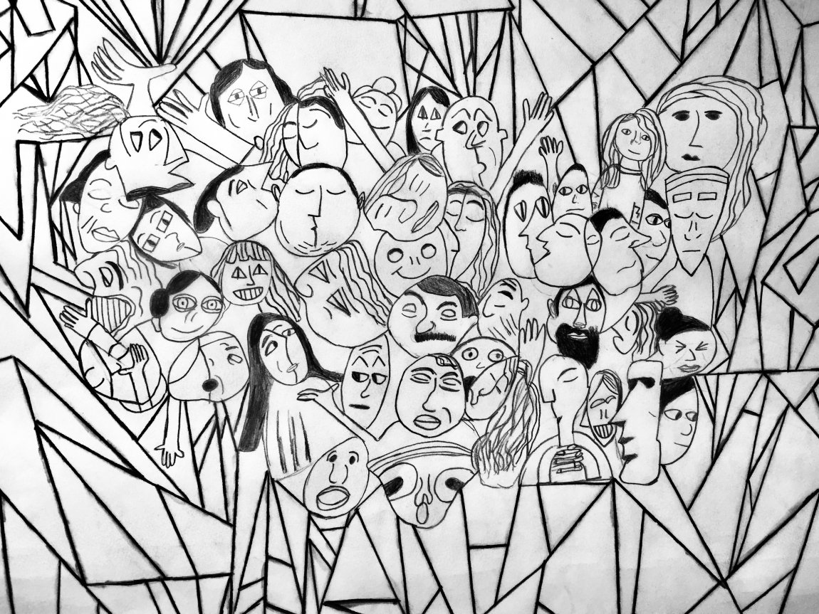 Student artwork faces drawing