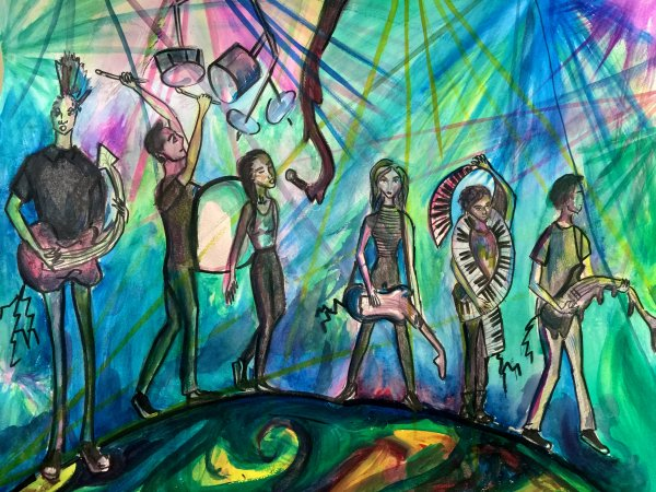 Student art painting musicians