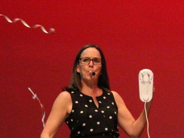 Heidi performing on stage
