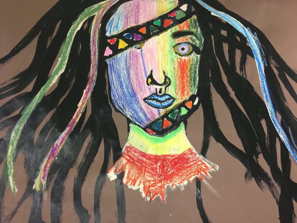 Student art work colorful face