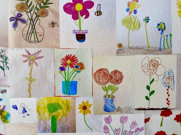 ES student art flowers
