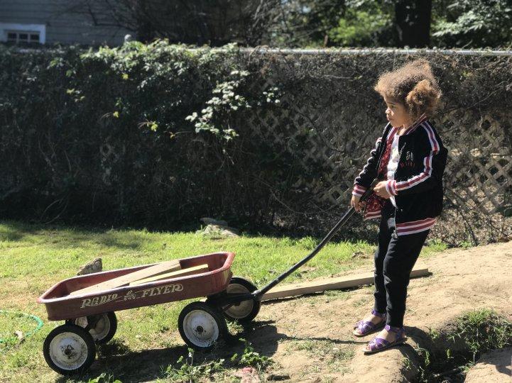 Farm Student with wagon