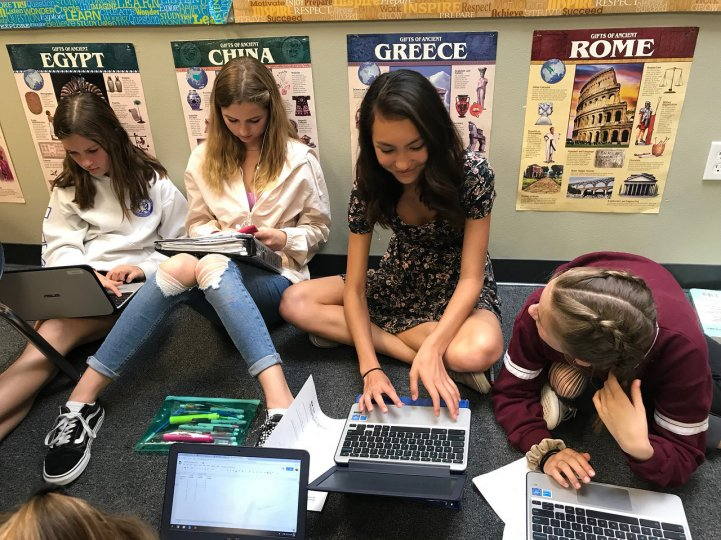 MS Girls on laptops in classroom