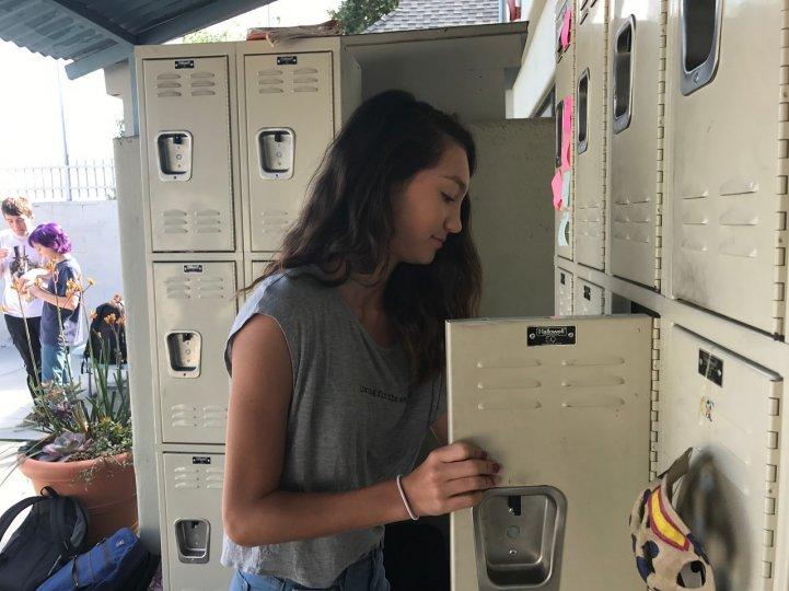 MS Girl at locker