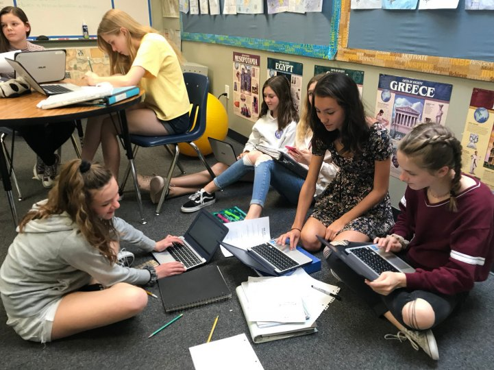 MS Students in classroom on floor with laptops